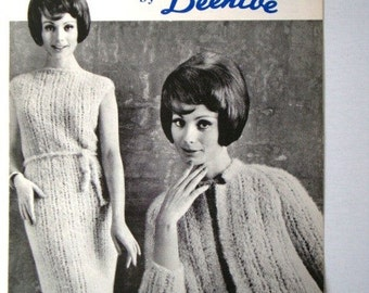 Vintage Dress and Jacket in Molana Knitting Pattern No.2029 by Beehive Patons