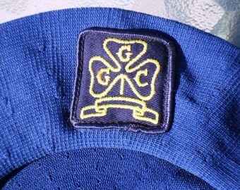 Vintage Girl Guide Official Beret Circa 1960s GGC Emblem Size Large Copen Blue Girl Guides of Canada