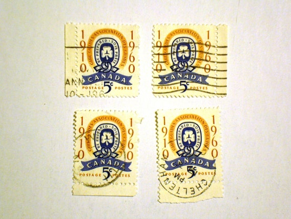 Vintage 1960 Stamps Celebrating the 50th Anniversary of Girl Guides in Canada