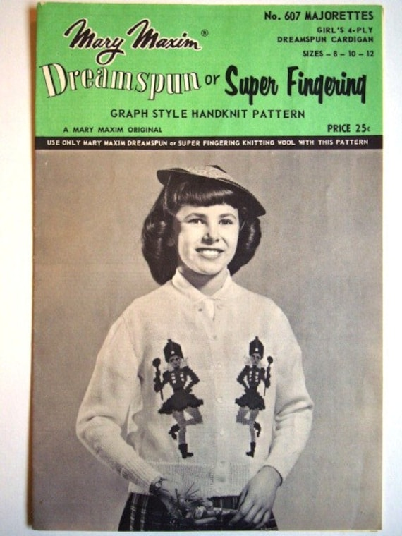 SALE * Vintage Majorettes Cardigan by Mary Maxim No.607 for Girls Charted Knitting Pattern Graph Style