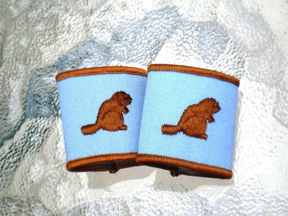Vintage Scouts Canada Beaver Epaulets in Light Blue and Chocolate Brown