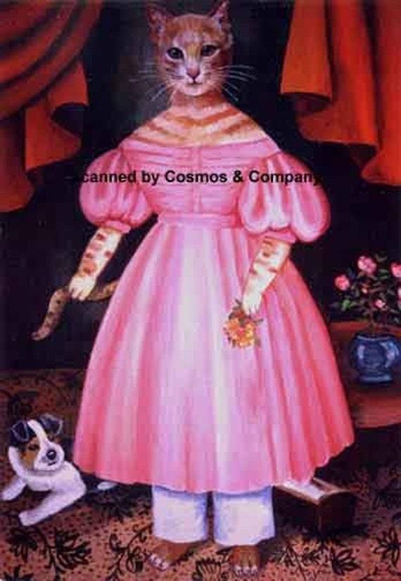 Girl Cat in Pink Dress Early American Portrait Print