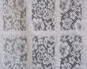 Vintage Curtain, Lace Curtain Panel, Off White Floral 56 x 84