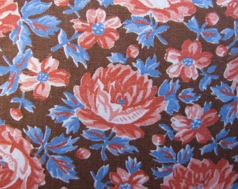 Fabric, Floral Fabric, Tangerine Blue Brown Fabric 3.16 yards....more yardage is available