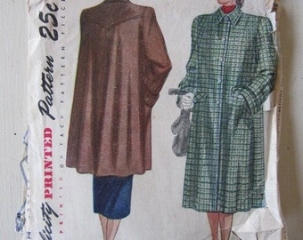 Vintage Pattern, 1940s Simplicity Coat Pattern 36 bust