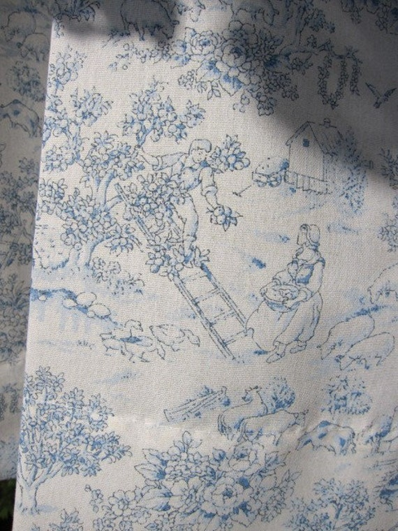 2 Country Cottage Toile Cafe Curtain Panels Off White Blue