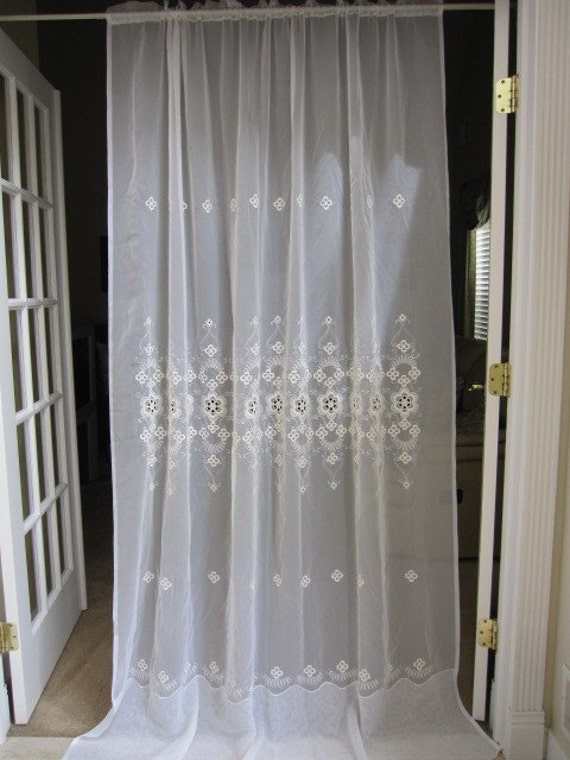 vintage macrame sheer embroidered curtain panel by