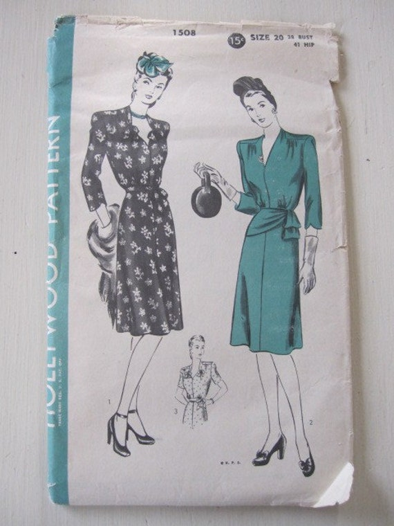reserved for anne...Vintage Pattern, 1930s Hollywood Dress, One Piece Dress Pattern size 20