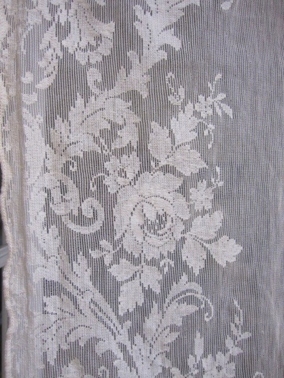 vintage lace curtain quaker lace curtain 50 long by thecottageway