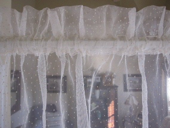 Vintage Curtains Sheer Curtains Flocked Swiss Dot Sheer Cafe