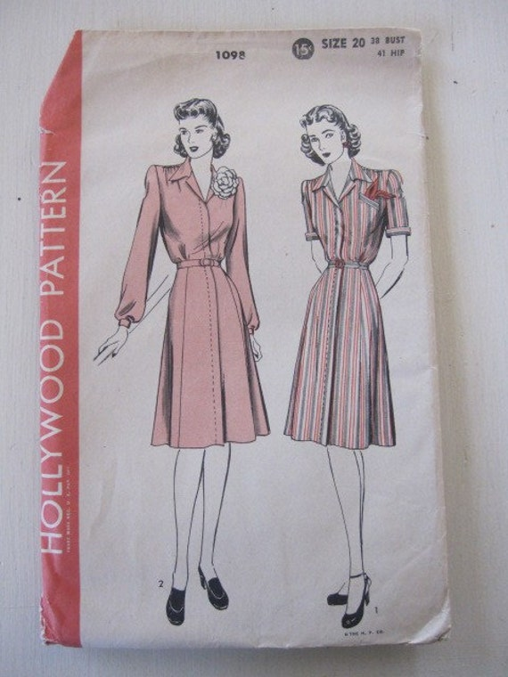 Vintage Sewing Pattern, 1940s Hollywood Dress, Fly Front Dress Pattern size 20