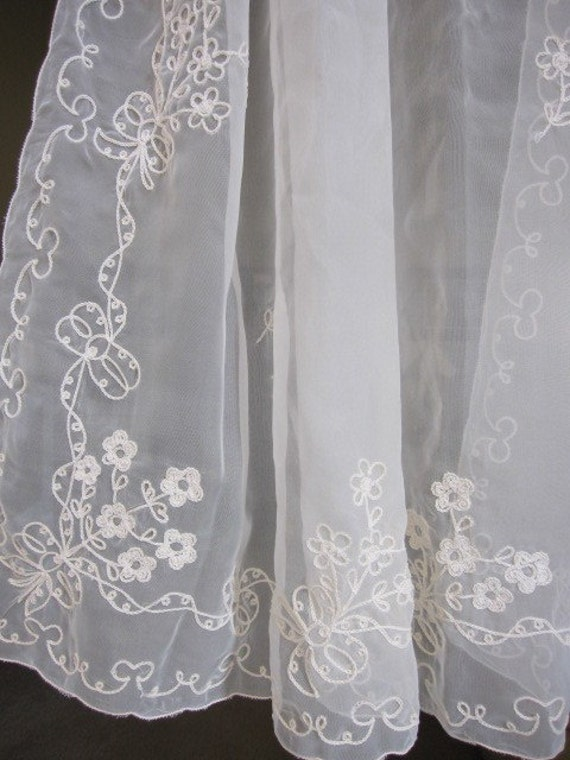 Vintage Sheer Curtains, Embroidered Sheer Cafe Curtains