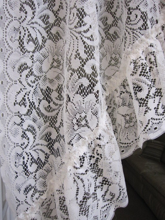 Reduced Vintage Lace Curtains 2 Ivory Lace Ruffled Curtain