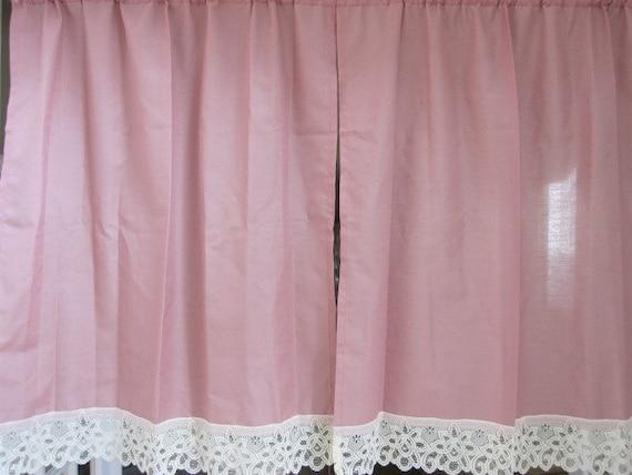 Sale Vintage Lace Curtains Lace Cafe Curtains 2 Mauve Cafe