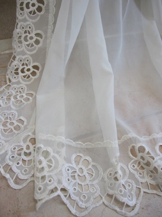 REDUCED...Vintage Lace Curtain, Sheer Macrame Lace Embroidered Curtain Scarf with Tiebacks 210 long, in original packaging