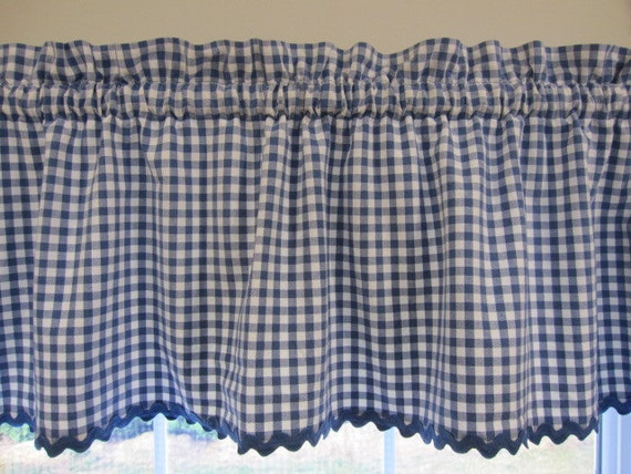 Vintage Cafe Curtains And Valance Blue And White Gingham Tier