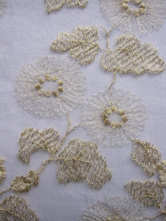 Vintage Lace, Lace Fabric, Ivory and Metallic Gold Lace Fabric 54 long