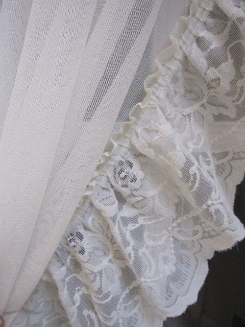 Vintage Lace Curtains 2 Ruffled Lace Sheer Curtains 52 Long