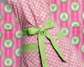 Vintaged inspired Apron Moda designer Fabric Retro style Green Hearts Pink Stripes