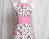 Vintage inspired Apron Ava by Julie Pink Black and White Damask Pink and White polka dots