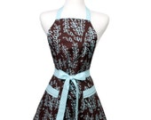 Retro inspired Apron Kelso Brown and French Blue