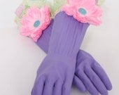 Kitchen gloves Diva style to wash Dishes and Clean Fancy Cupcakes purple and pink
