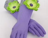 Diva Gloves to wash Dishes and Clean Purple White and lime green