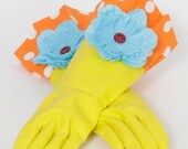 Kitchen gloves Diva style to wash Dishes and Clean Orange Yellow Blue and Red