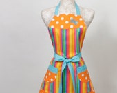 Full Apron- Turquoise embroidered Butterfly, stripes and Polka dots Bold and Bright