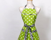 Lime and Zebra Apron, Black and White Zebra trim white polka dots on Lime Green