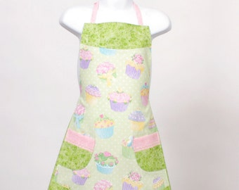 Child's full Apron Fancy Cupcakes bright Green Pink Blue and Purple