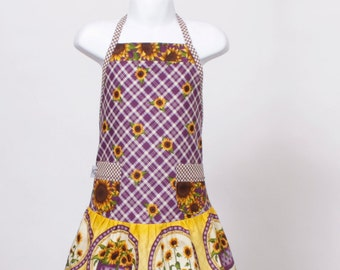 Child's full Apron, Sunflowers Purple Gold and Brown.