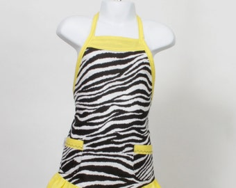 small Child's full Apron, Zebra bright yellow pin dots