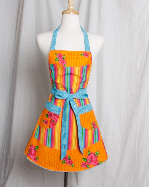 Vintage inspired Apron Retro Style Bold and Beautiful Stripes Hibiscus and Dragonflies