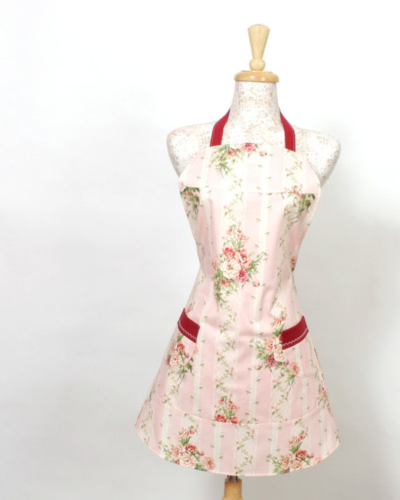 Womens plus size full Bib Apron, Floral print with a Vintage feel in soft pinks and greens