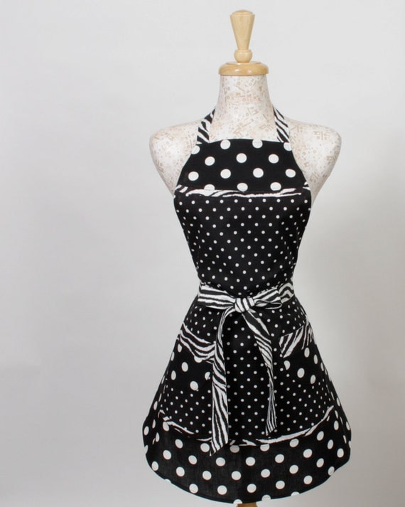 Womens full Apron, Black and White Polka Dots trimmed in Zebrak