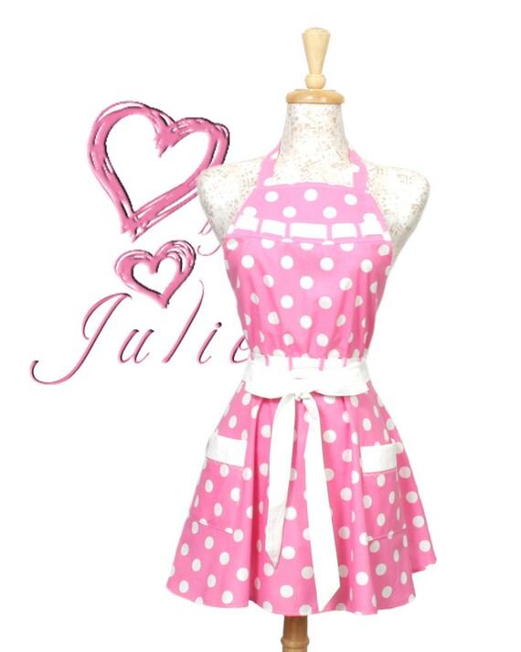 Polka dot Apron, Vintage inspired Pink and White Polka Dot Circle Skirt Apron