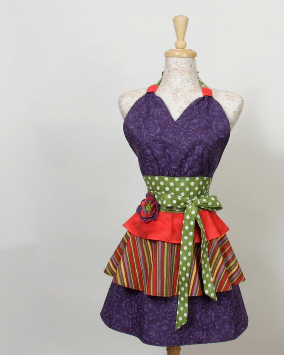 Retro inspired Apron-- tiers of Purple Red Green Polka dots and stripes