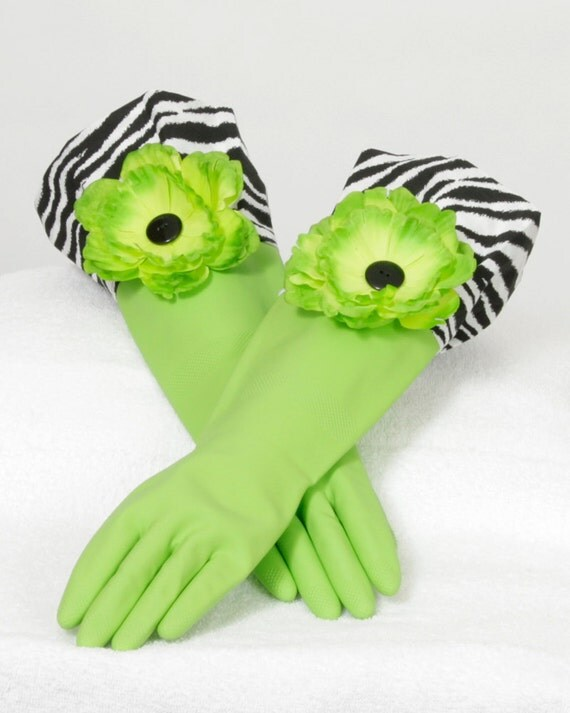 Black zebra Lime Green Diva Gloves to wash Dishes and Clean