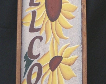 Welcome Sign with Sunflowers