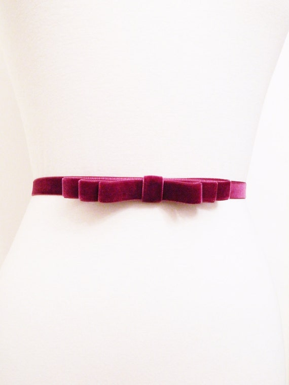 Daiene-Velvet Bow Belt- Plum