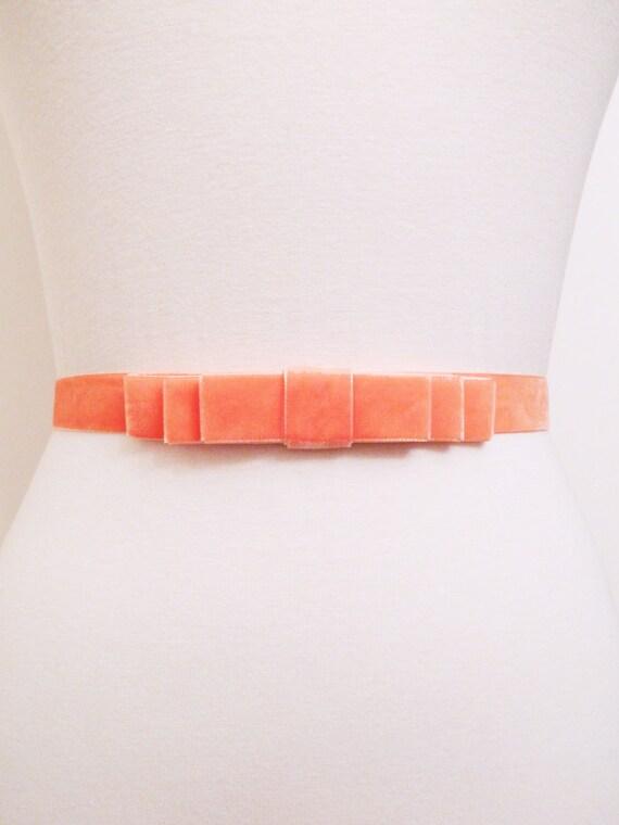 Light Coral Velvet Bow Belt