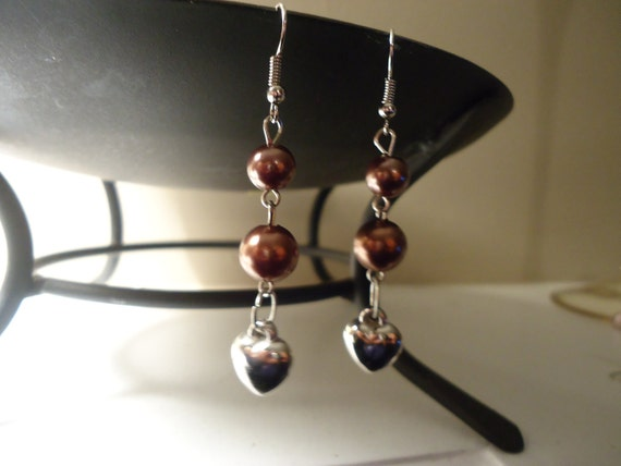 chocolate brown dangle style earrings