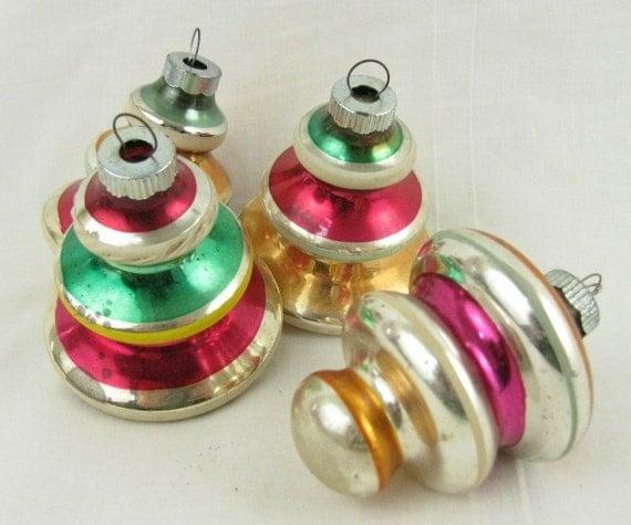 Vintage bell mercury glass christmas ornaments top atomic mod
