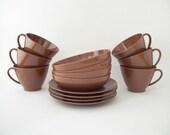 Vintage MELMAC DISHES Set - Coffee Brown Melamine - Mid Century Cups, Bowls, Plates