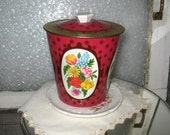 Vintage Metal Tin - Country Red Floral Farmhouse Decor - Metal Storage Container - Gift Packaging