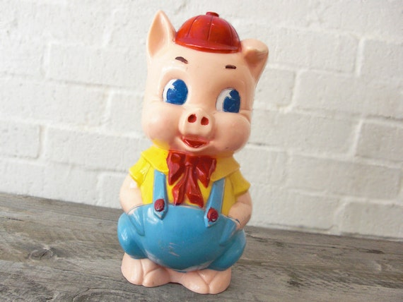 Vintage porky pig piggy bank rare 1950s plastic childrens for Childrens piggy bank