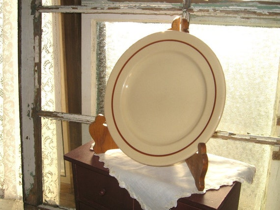 Vintage BUFFALO RESTAURANT CHINA Plates - Farmhouse Decor - Beige Brown Dinner Plates - Set of 3