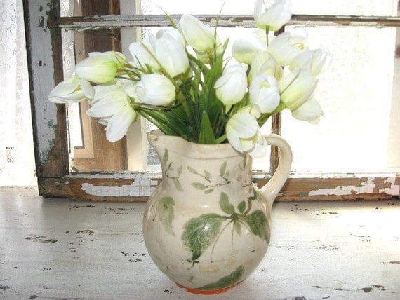 Vintage French Country Pitcher - Ceramic Pottery Vase - Rustic Country Decor - Farmhouse Kitchen