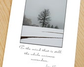 lone tree in winter note card inspirational blank photo card with beautiful tree silhouette in winter